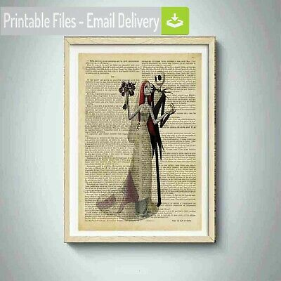 wedding day print jack skellington and sally,love,inspirational art,flowers,hot