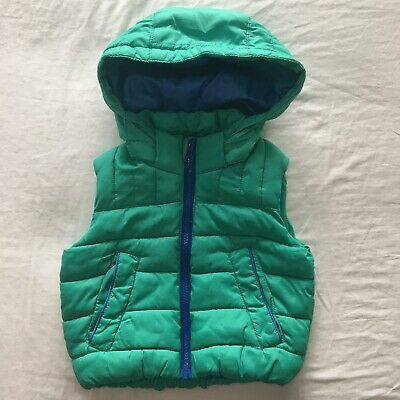 Lily & Dan Boy's Green Puffer Vest With Removable Hood Size 1