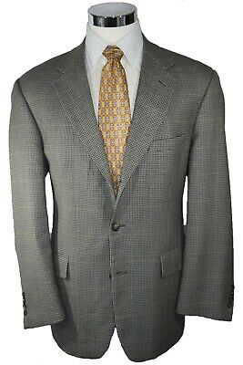 Brooks Brothers White & Black Houndstooth 3-Btn Sport Coat Blazer Jacket 44R
