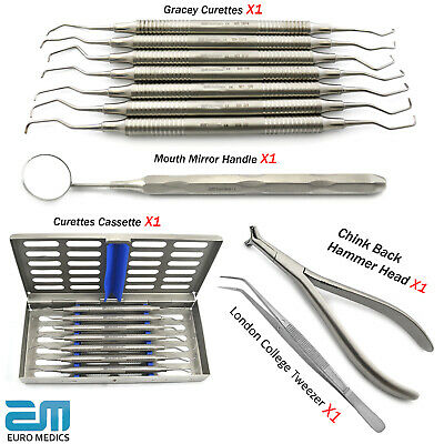 Dental Gracey Curettes Root Canal Cavity Removal Scalers Cassette Hammer Plier