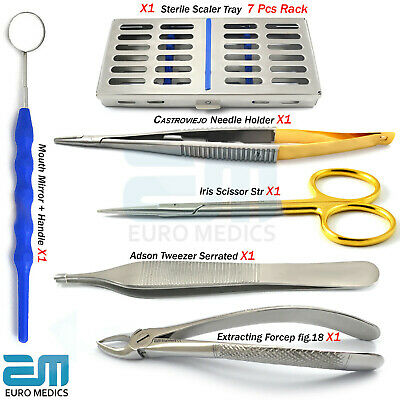 Orthodontic Set Dental Tooth Extracting Forceps Mathieu Needle Holder Tweezers