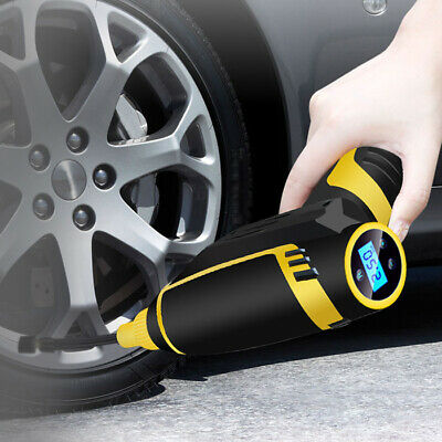 Mini Cordless Electric Air Pump Digital Handheld Auto Car Tire Inflator USB LED