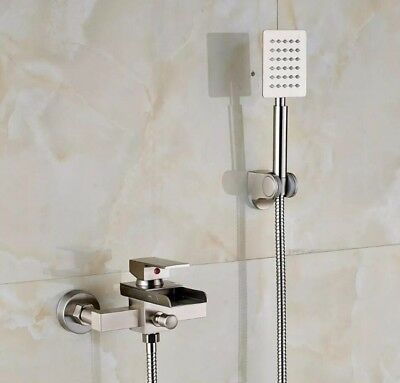 Brushed Nickel Waterfall Bathtub Mixer Shower Faucet Brass Hand Held Shower Taps