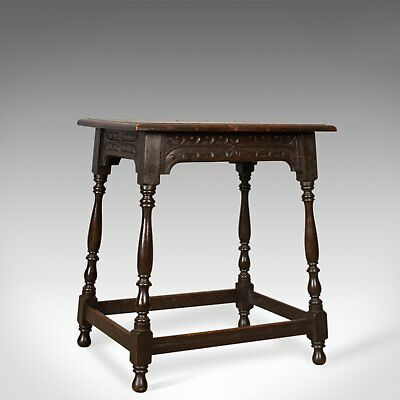 Antique Side Table, Jacobean Revival Taste, English, Victorian, Oak, Lamp, c1900