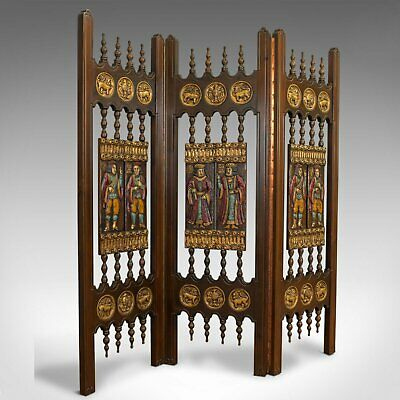 Vintage Three Fold Screen, Painted, French, Room Divider, Medieval Taste, C20th