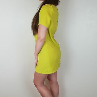 Cameo Rose Size 10 Lime Green Yellow Shift Dress Rose Gold Spike Studded Buttons