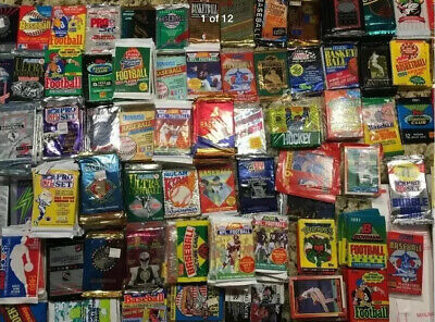 Huge LOT - New Unopened Old Vintage Sports Cards in 50 Wax foil cello rack Packs