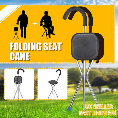 Outdoor Travel Cane Seat Folding Walking Stick Chairs Portable Tripod Stool K