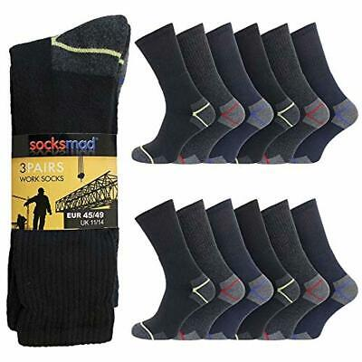 12 Pairs Mens Ultimate Heavy Duty Work Casual Socks Size 11-14 Cotton Rich - Cus
