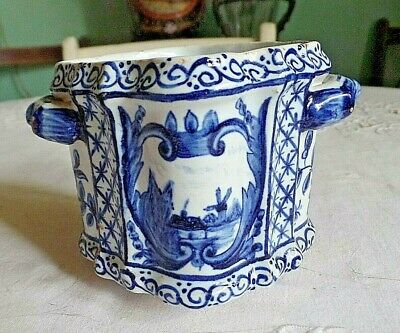 Antique 19th Century Hand Painted Delft Cache or Small Plant Pot
