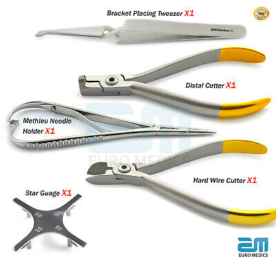 Dental Orthodontic Plier Bracket Placing Distal & Wire Cutter star Gauge Dentist