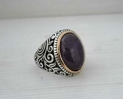 Solid 925 Sterling Silver Amethyst Ring Mens Signet Ring Arabic Unique Ring K16
