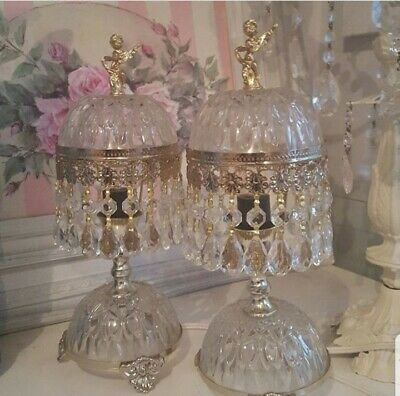 Glass Brass  chandelier Crystal Cut Boudoir Dome Cherub Table Lamps Pair