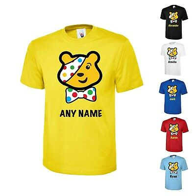 Personalised Boys Girls  School 10% Bbc Children In Need T-Shirt Spotted Pudsey