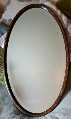 Antique Large Oval Bevelled Glass Wooden Hall Mirror 72cm length