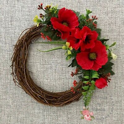 Red Poppy Artificial Silk Flower Wreath Remembrance Day, Memorial Size: 24cm