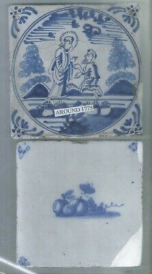 2 - Antique Delft Tiles Around 1775 - One Is Bible Tile.