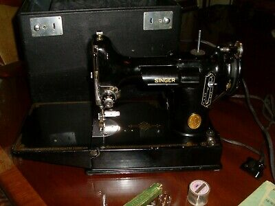 Antique Singer 1949 Featherweight Sewing Machine 221-1, Lots of EXTRAS