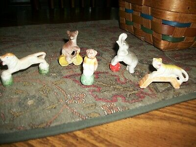 vintage mini bisque animal figurines-all in exc. cond.