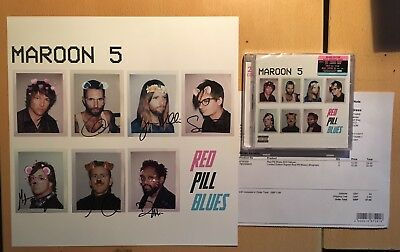 MAROON 5 Red Pill Blues 2CD Deluxe & Autograph Signed Lithograph + PROOF NEW