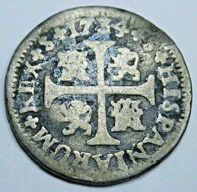 1734 Spanish Silver 1/2 Reales Piece of 8 Real Colonial Era Pirate Treasure Coin