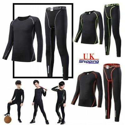 Boys Sportswear Base Layer Soccer Tracksuit Football Training Suit Top & Bottoms
