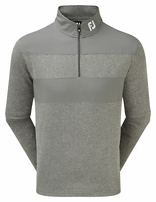Footjoy Flat Back Rib and Woven Chill-Out Pullover Herren grau