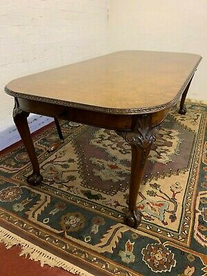 Stunning Antique Burr Walnut Extending Table With Extra Circa 1920