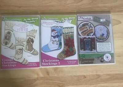 Lot of 3 Anita Goodesign Christmas Designs Vintage Stocking Coasters Stockings 2