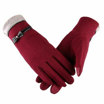 Women Full Gloves Finger Ribbon Wrist Fashion Touch Screen Warmer Winter Mittens