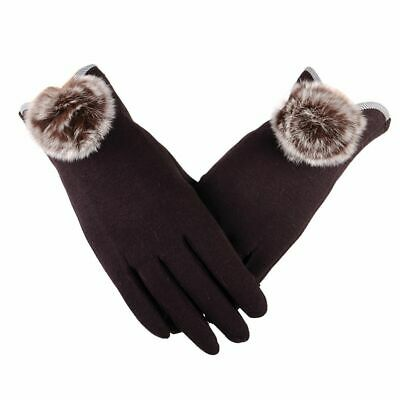 Women Gloves Winter Mittens Full Finger Pompom Wrist Fashion Touch Screen Warmer