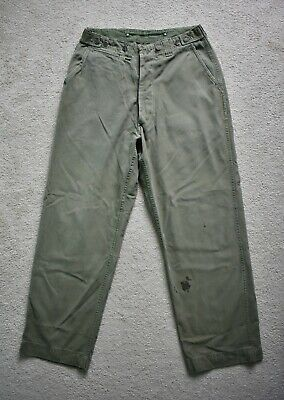Original WWII 40s US Army Cotton OD Combat Trousers 13 Star Pants W29/W30 L30