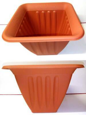 Lot De 5 Pots Carre En Plastique Marron