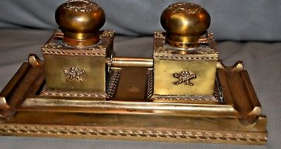 Antique French Gilded brass bronze & glass inkwell