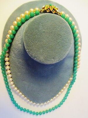"""VTG  Mid Century Jadeite Bead & Faux Pearl Double Strand Necklace 20""""L Free Ship"""