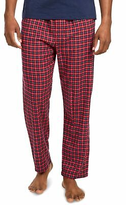 $57 Nautica Mens Cotton Pajama Flannel Pants Red Blue Plaid Sleepwear Size S