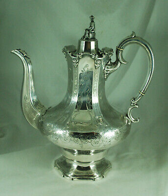 Victorian Silver Plated Chinoiserie Coffee Pot Elkington & Co 1860 EAZX008