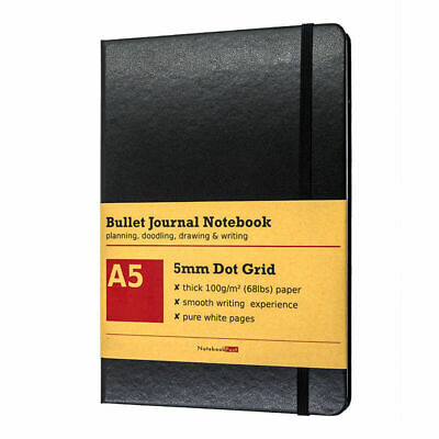 Dot Grid Notebook for Bullet Journal, Thick Dotted Paper Black Leather Cover A5