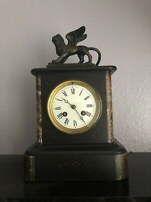 Antique Marble Clock - French Bronze Figural Clock - Mantel + key