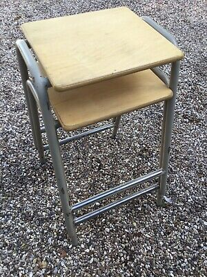 2 Old Vintage Retro School Science Lab Artist Kitchen Bar Metal Stacking Stools