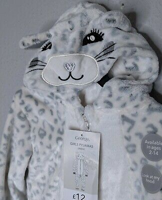 Super Soft Cheetah Cat Print All In One Suit PJ's Pajamas Age 4-5 Years New