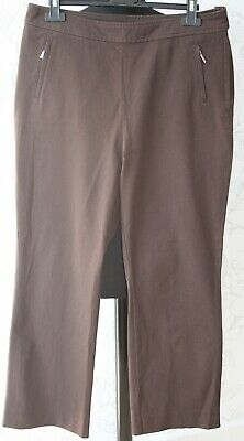 "NEW 1980s Vintage Marks & Spencer UK14/W34"" Thick Cotton Brown Classic Trousers"