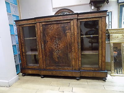 Victorian Burr Walnut, Ebonised & Inlaid Credenza Sideboard/Cabinet