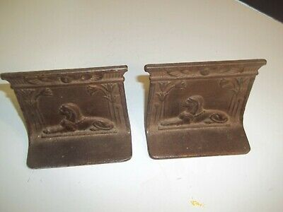 Vintage Antique Bradley Hubbard Style Cast Iron Metal Sphinx Egyptian Book Ends