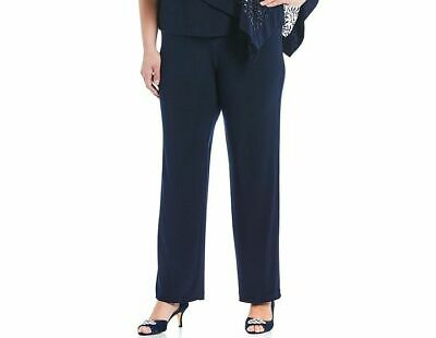$150 R&M Richards Women Blue Wide-Leg Stretch Pull-On Formal Pants Plus Size 14W