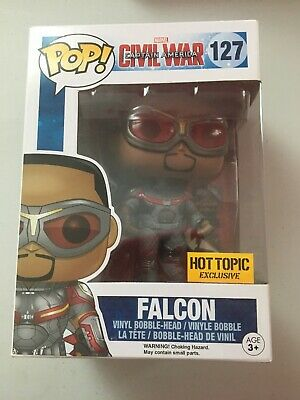 Funko Pop Civil War Falcon #127 Marvel Bobble Head Hot Topic Exclusive