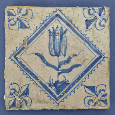 Antique Dutch 17th Century Delft Blue & White Tile w. Tulip Framed No.1