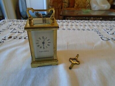 Vintage Working Miniature Mappin & Webb Brass Carriage Mantel Clock with Key
