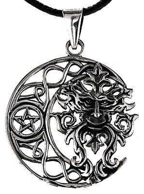 Pendant Green Mann 925 Sterling Silver Green Man Pentagram 362