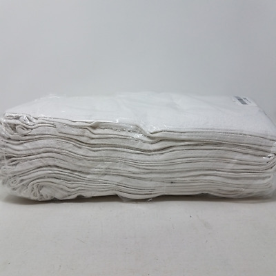 """GYM SALON SPA HOTEL 12 PACK WHITE HAND TOWELS 13X30 /"""" 86/% COTTON 14/% POLYESTER"""